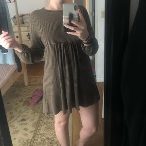 Knot Sisters brown and black striped t-shirt dress